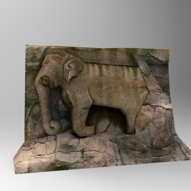 3d stone elephant statue 02