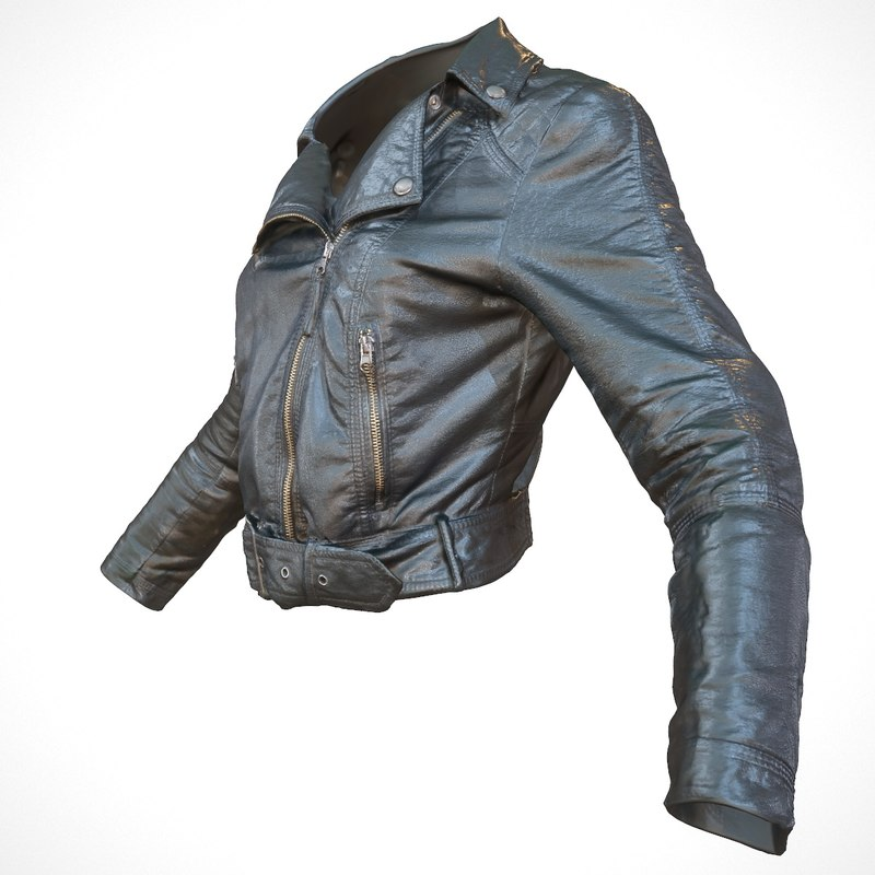 realistic jacket black leather 3d obj