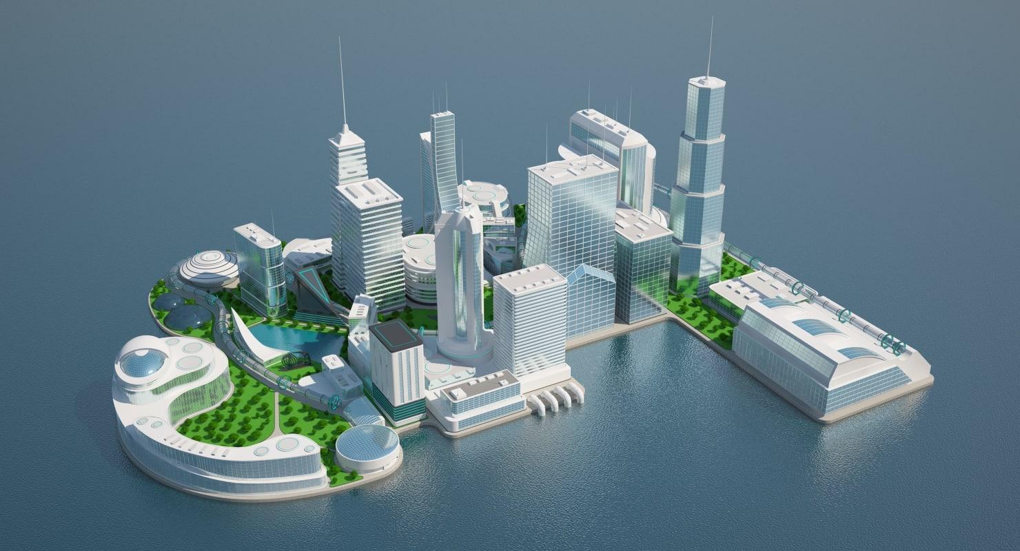 futuristic city 3 3d max