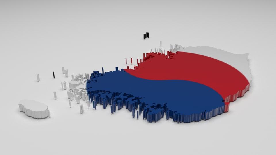 3d model south korea flag