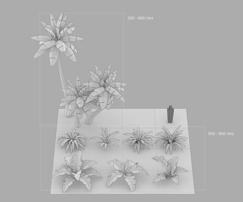 3d cartoon oasis palm trees model