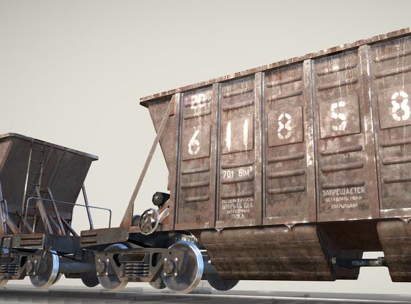 railway hopper car 3d obj