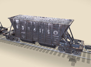 3d railway hopper car