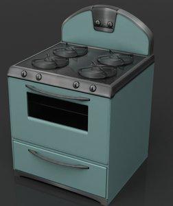 3d model of retro stove