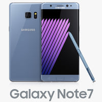 3d samsung galaxy note7 blue model