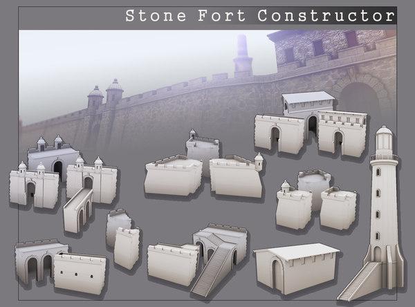 obj stone fort wall