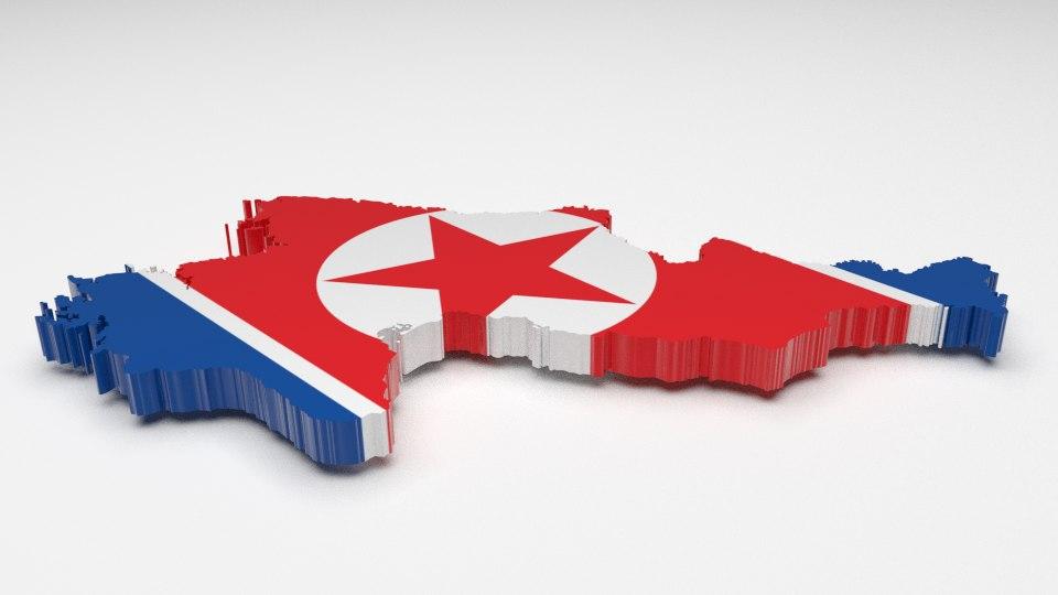 3d model north korea flag