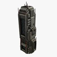 3d sci-fi city structure