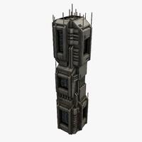3d model sci-fi city structure