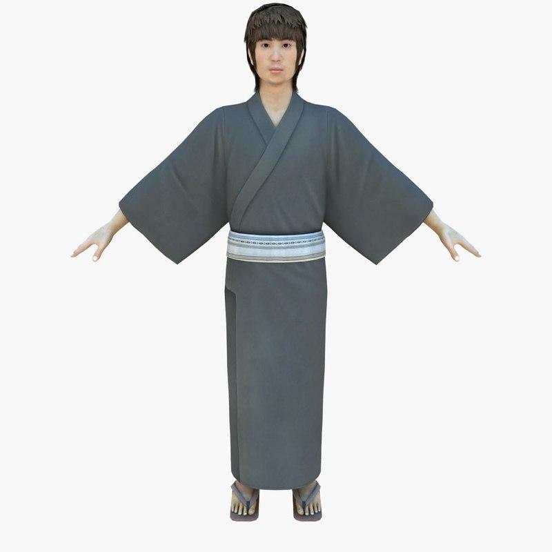boy japanese summer 3d model