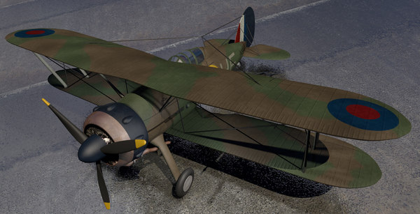 gloster gladiator mk-1 fighter aircraft 3d 3ds