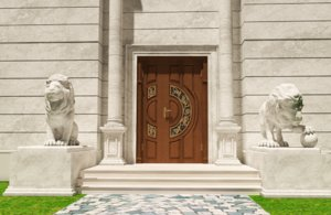 3d model luxury lions sculptures