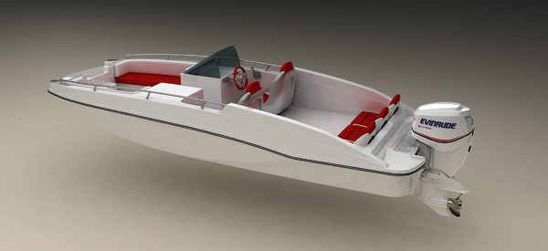 deck boat engine 3d model