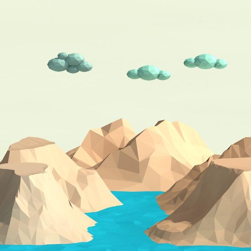 3d model of trees mountain scene