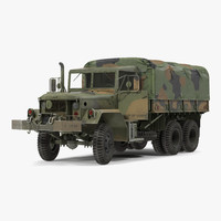 US Military Cargo Truck m35a2 Rigged Camo 3D Model