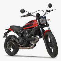 Motorcycle Ducati Scrambler Sixty2 Rigged 3D Model