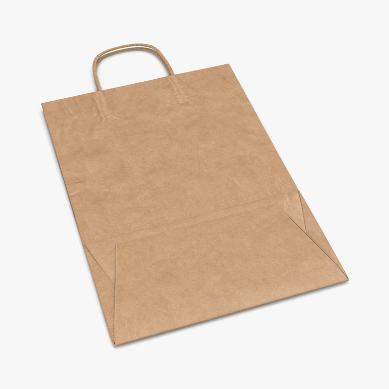 3d paper bag handle folded