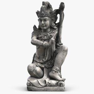 bali girl guard statue 3d model