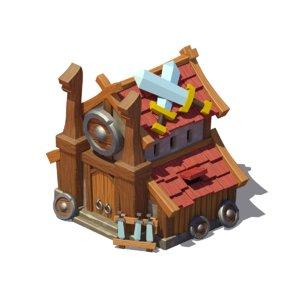 3d viking house model
