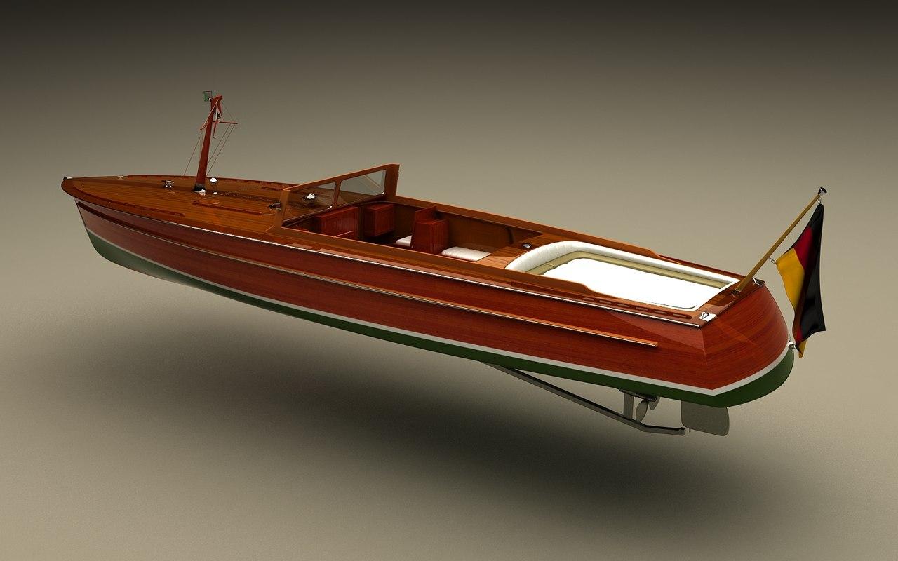 wooden tender mahogany 3d model