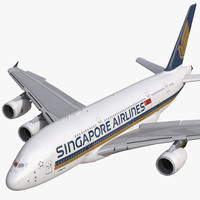 airbus a380-800 singapore airlines 3d model