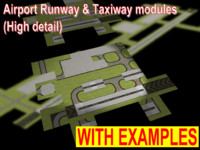 3d model modules airport runways taxiways