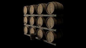 stack barrels 3d obj
