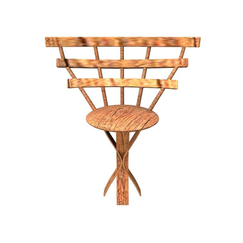 wooden chair 3d x