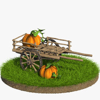 3d max cart cartoon pumpkin