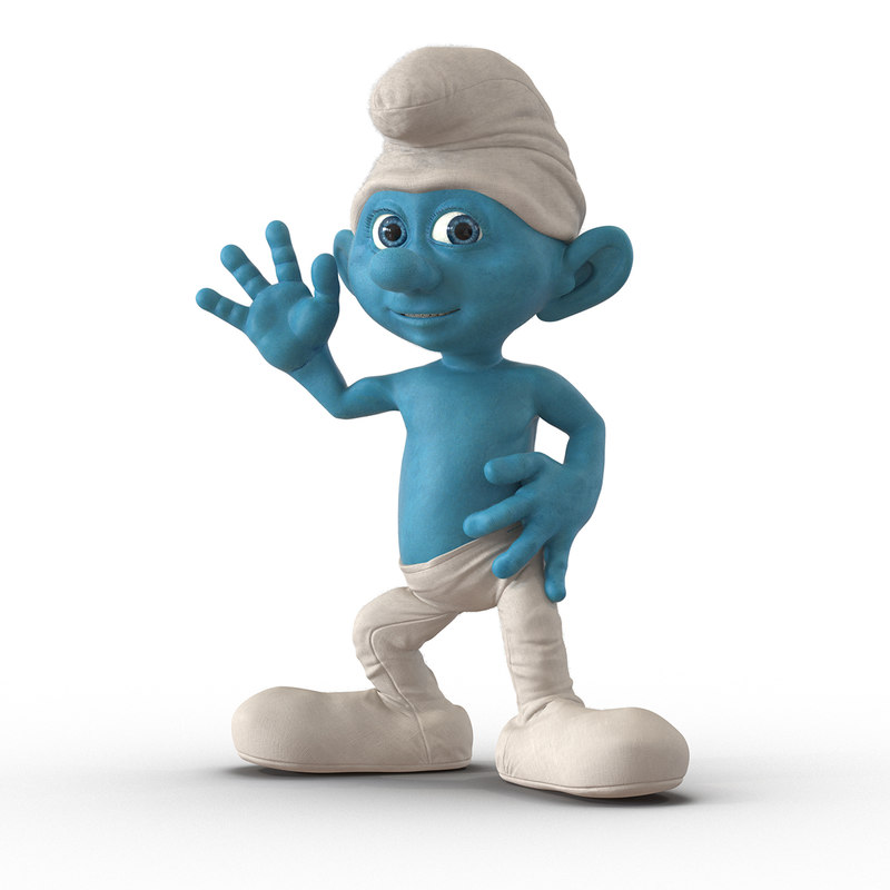 3d model of smurf rigged fur