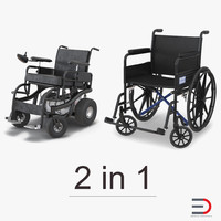 3d wheelchairs rigged 2 model