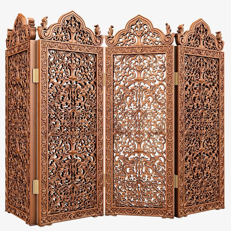 carved dressing screen 3d model