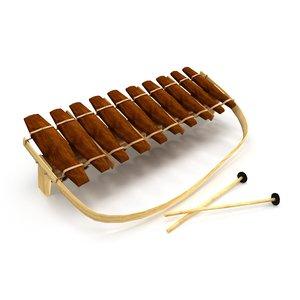 3d model wooden marimba