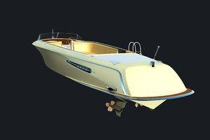3d retro tender boat