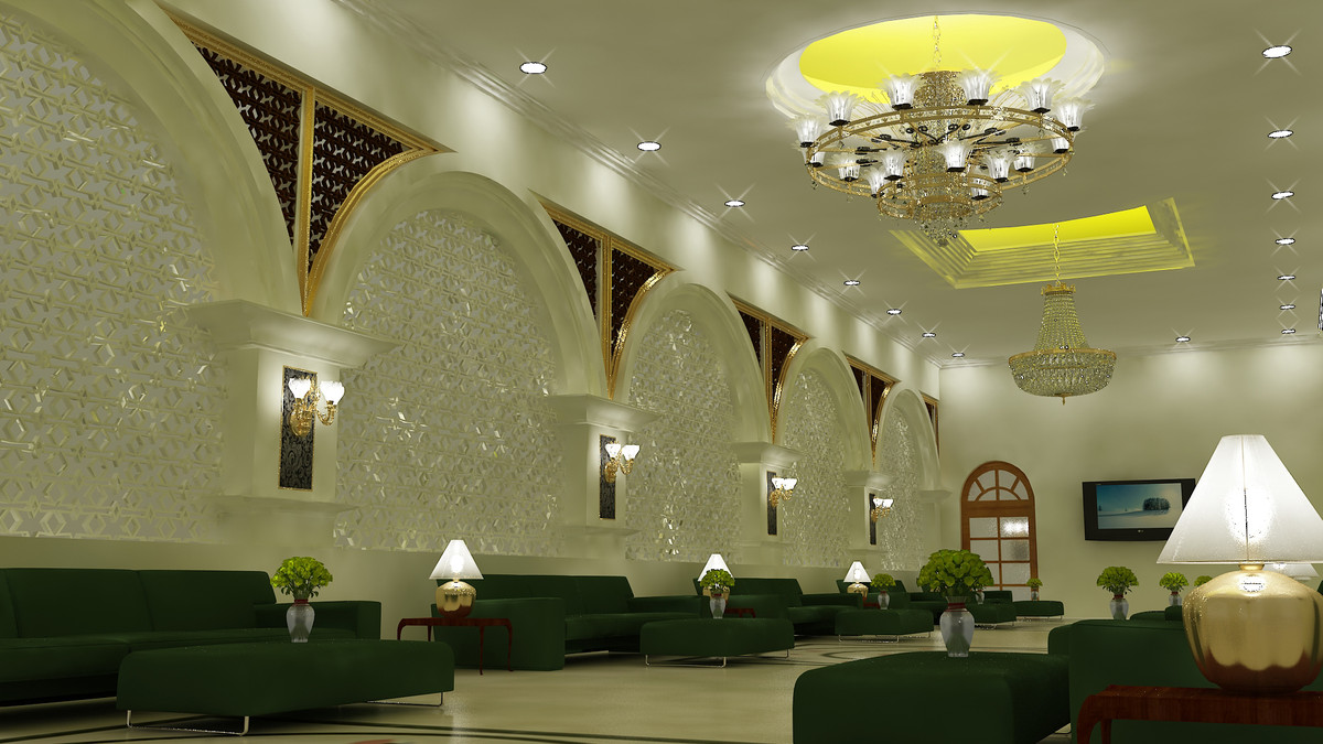 3d model of hotel waiting room