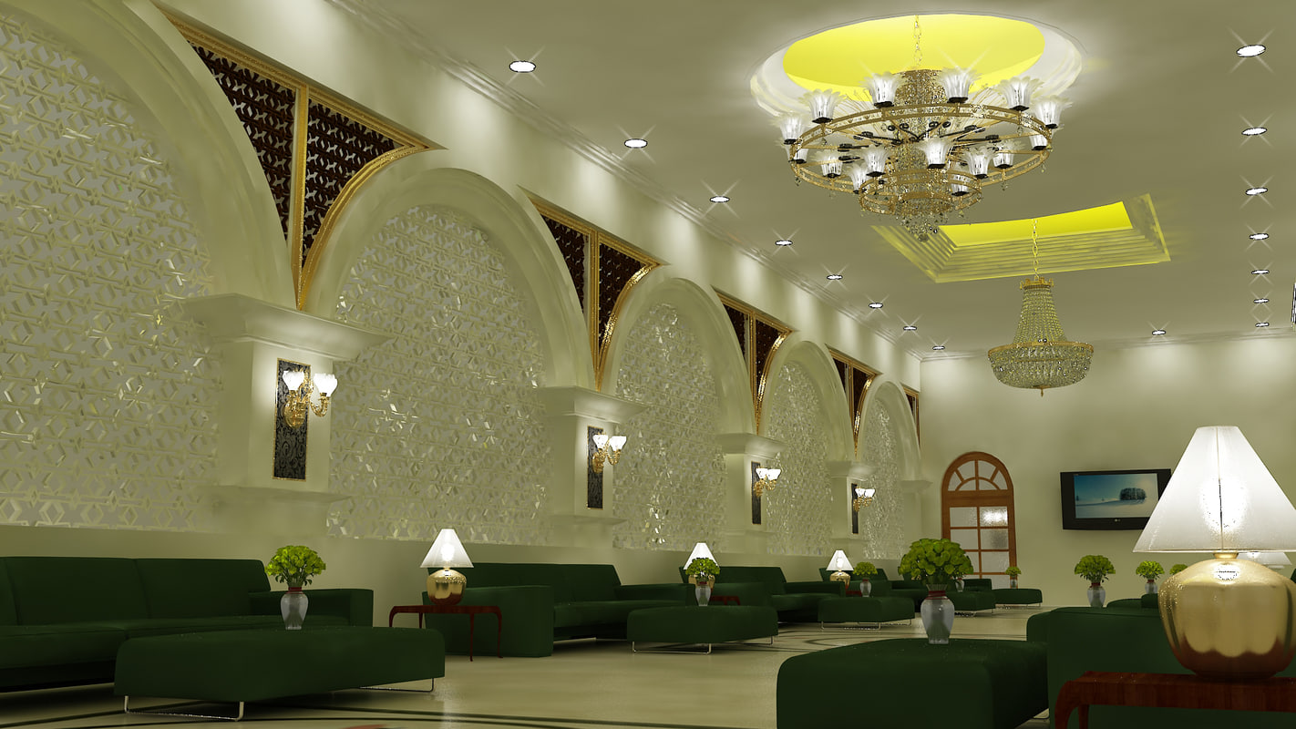 3d model of hotel waiting room