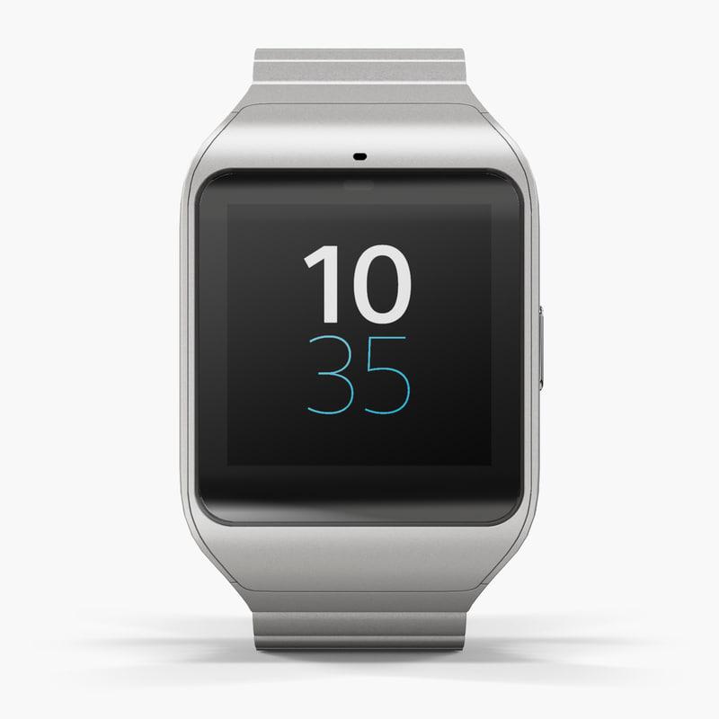 sony smartwatch 3 silver 3d model