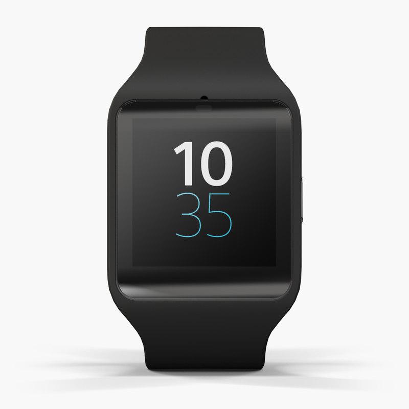 3d sony smartwatch 3 black model