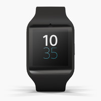 3d sony smartwatch 3 black model