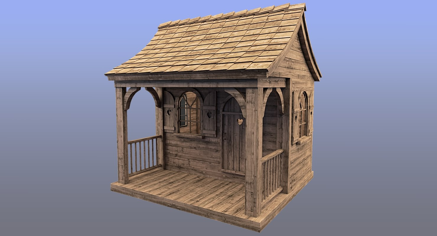 & 3d max house wood wooden