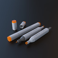 Copic Marker HighRes Mesh C4D Scene File Arnold Renderer