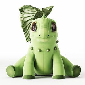 3d model of chikorita leaf plush
