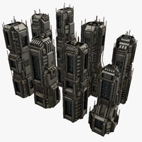 3d model of 8 sci-fi city structures