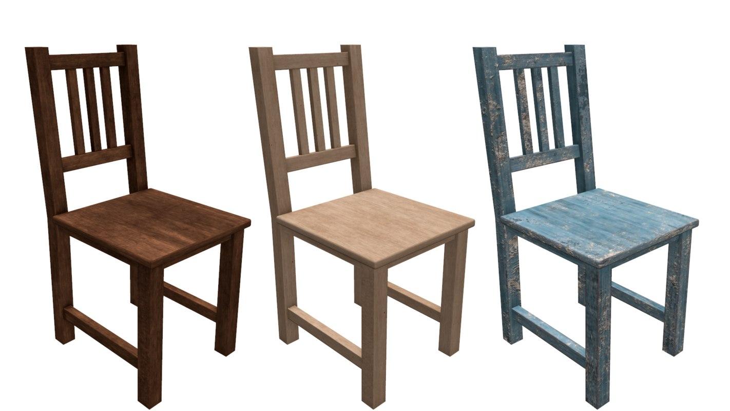 wooden chair pbr 3d model