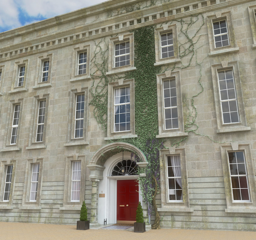 georgian manor house 3d obj