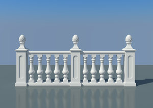 free balustrade 3d model