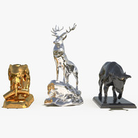 decorate sculpture animal set 3d model