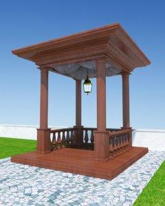 3d wood pergola p02