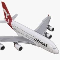 airbus a380-800 qantas rigged 3d max