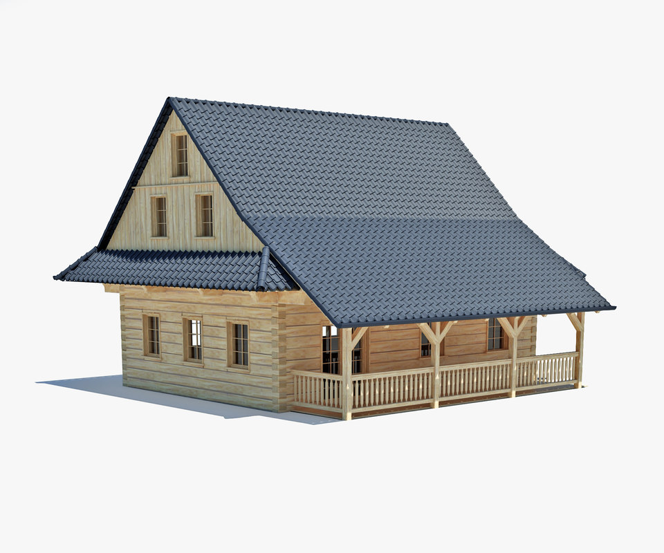 traditional log cabin 3d max